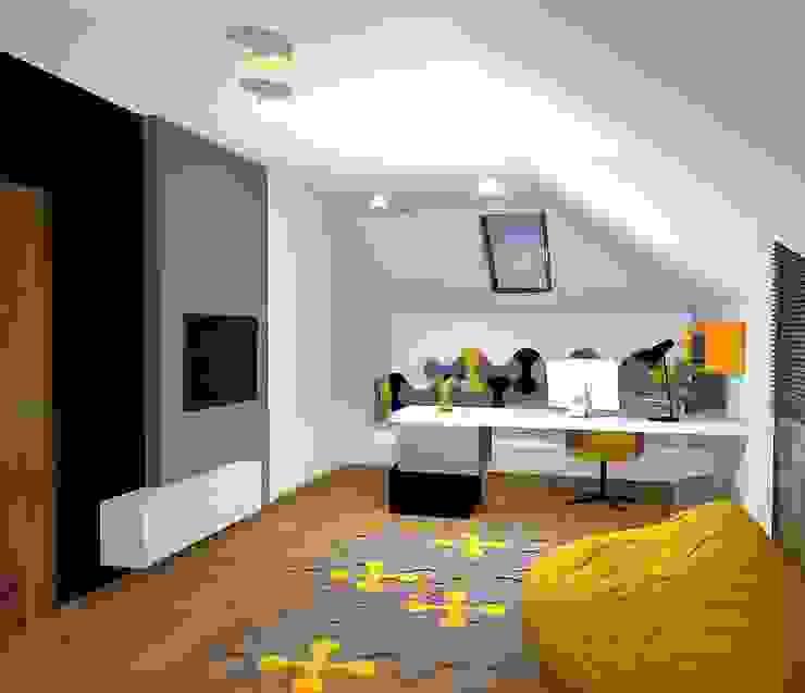 Wizualizacja. Panele akustyczne Bounce. Nowoczesny pokój multimedialny od FLUFFO fabryka miękkich ścian Nowoczesny