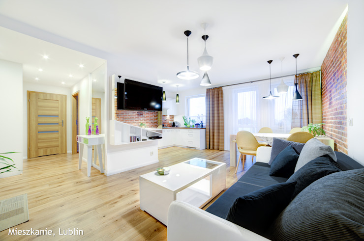mieszkanie na Felinie Lublin Rustykalny salon od Auraprojekt Rustykalny