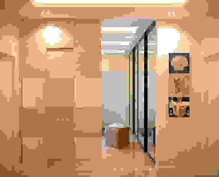 """Дизайн прихожей в современном стиле в ЖК """"Солнечный"""" Коридор, прихожая и лестница в модерн стиле от Студия интерьерного дизайна happy.design Модерн"""