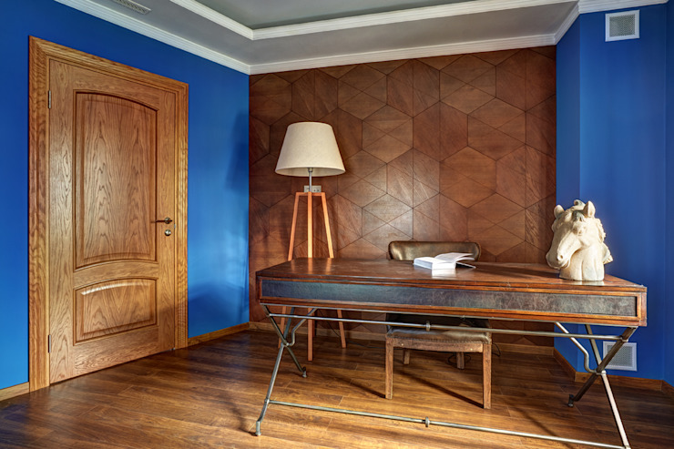 кабинет/2 этаж Рабочий кабинет в эклектичном стиле от Yucubedesign Эклектичный