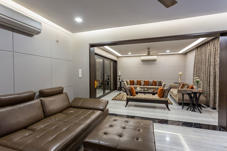 Kumar Residence Modern living room by Spaces and Design Modern