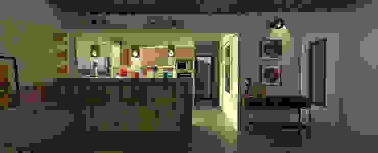 Diseño de cocina y estar para proyecto Casa Primma : Cocinas de estilo  por Estudio 17.30,Ecléctico