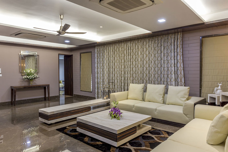 Kabra House Modern living room by Spaces and Design Modern