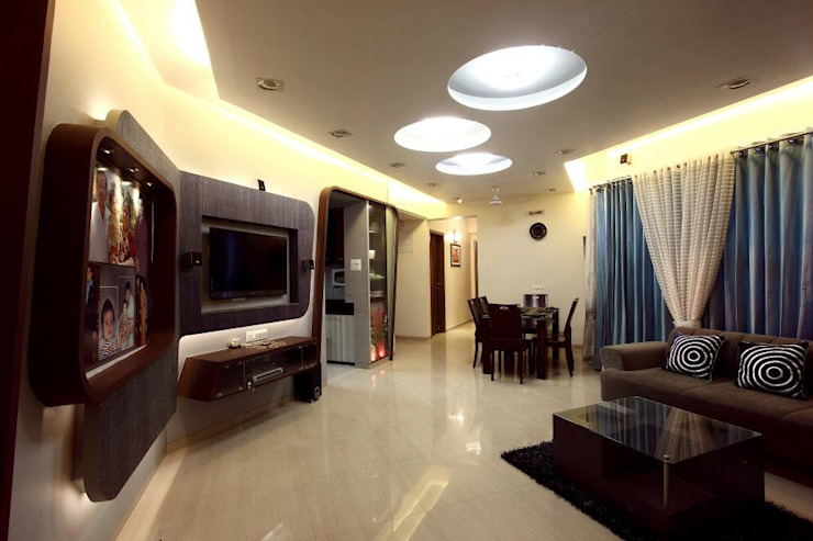 Bharat Bhanushali Modern living room by PSQUAREDESIGNS Modern