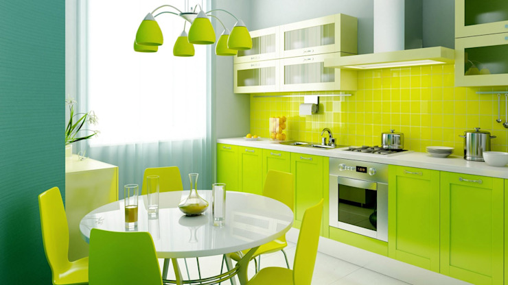 Lime green kitchen by A.N.Other Cocinas de estilo moderno de Design Republic Limited Moderno