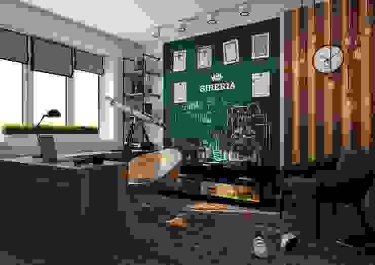 Кабинет в стиле лофт для молодого инженера Рабочий кабинет в стиле лофт от IdeasMarket Лофт Дерево Эффект древесины