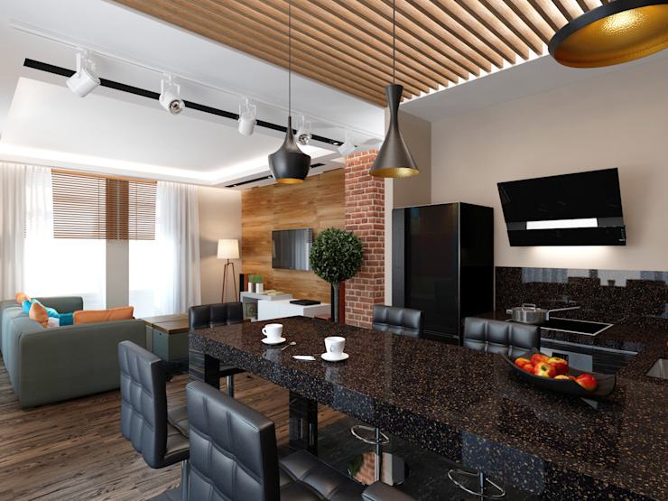 Современная гостиная с кухней в стиле Лофт СВЕТЛАНА АГАПОВА ДИЗАЙН ИНТЕРЬЕРА Кухня в стиле лофт Изделия из древесины Коричневый