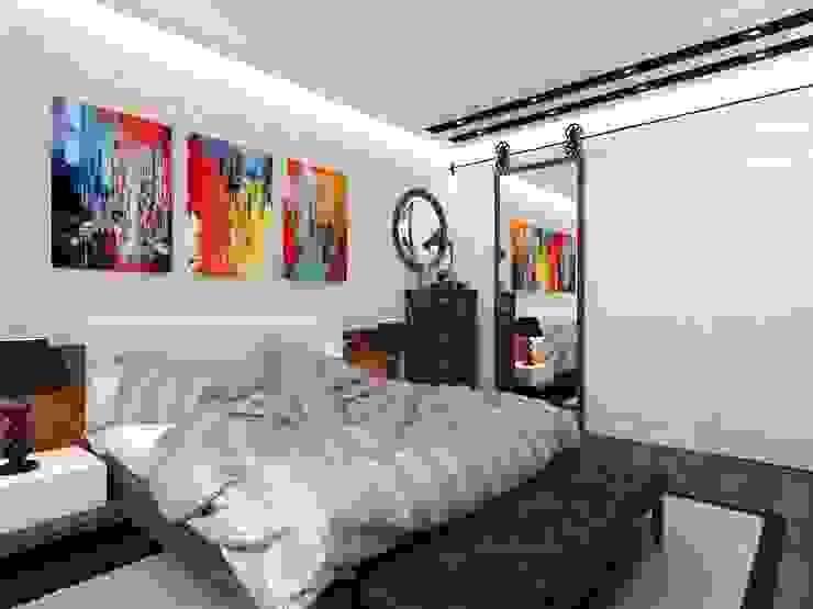 Спальня в стиле Лофт Спальня в стиле лофт от СВЕТЛАНА АГАПОВА ДИЗАЙН ИНТЕРЬЕРА Лофт Кирпичи