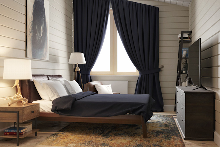 homify Colonial style bedroom Wood Blue