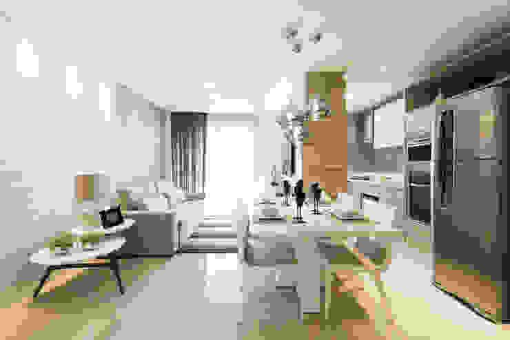 غرفة المعيشة تنفيذ TRÍADE ARQUITETURA, حداثي خشب Wood effect