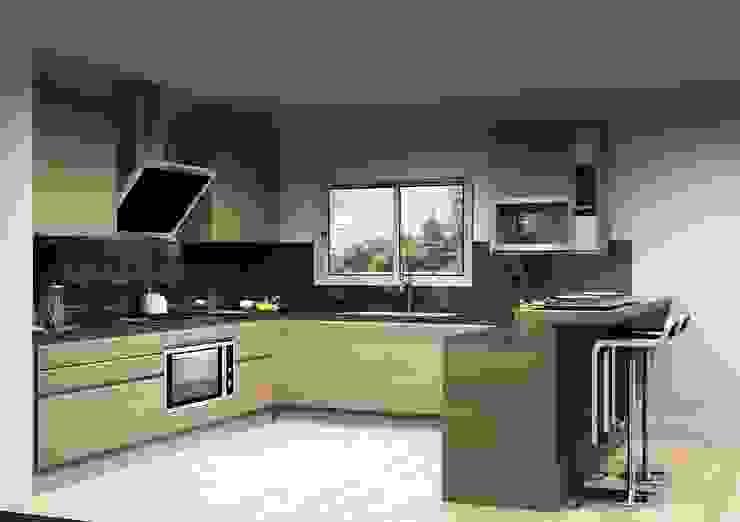 現代廚房設計點子、靈感&圖片 根據 Amplitude - Mobiliário lda 現代風 合板