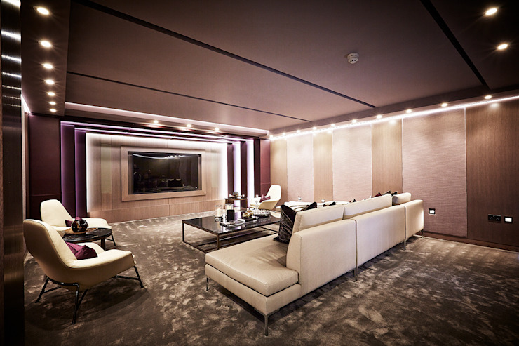 Basement Cinema Room 클래식스타일 미디어 룸 by Flairlight Designs Ltd 클래식
