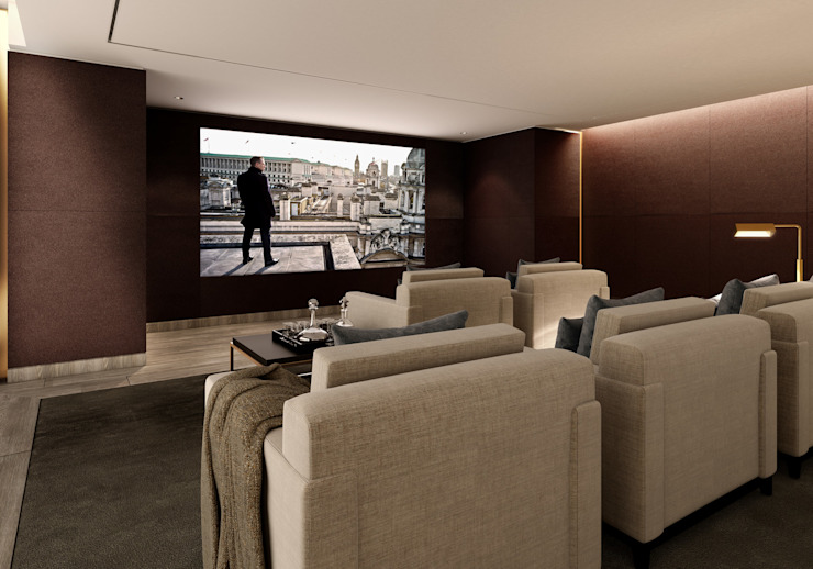 5&6 Connaught Place, Hyde Park, London. Flairlight Designs Ltd Classic style media room