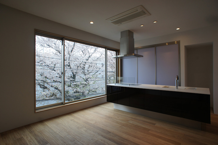 ダイニングから見る道路向かいの桜 モダンデザインの ダイニング の 東章司建築研究所 モダン 無垢材 多色