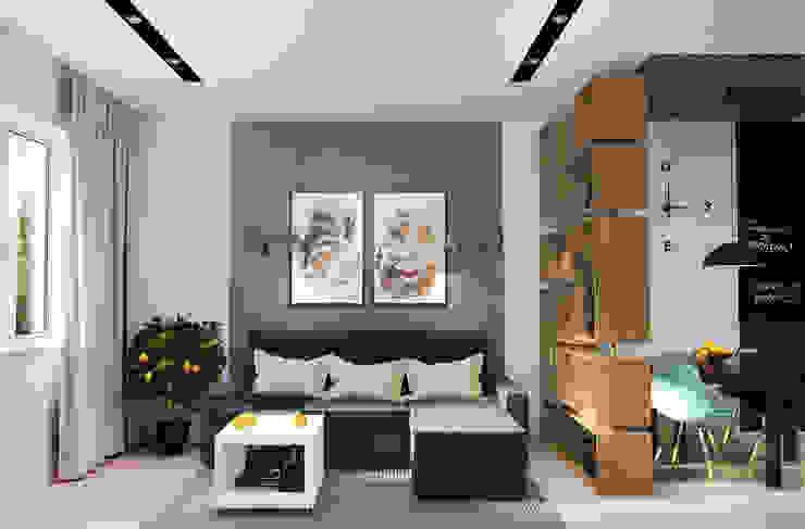 Дизайн-проект квартиры для молодой пары. Гостиные в эклектичном стиле от Катя Волкова Эклектичный
