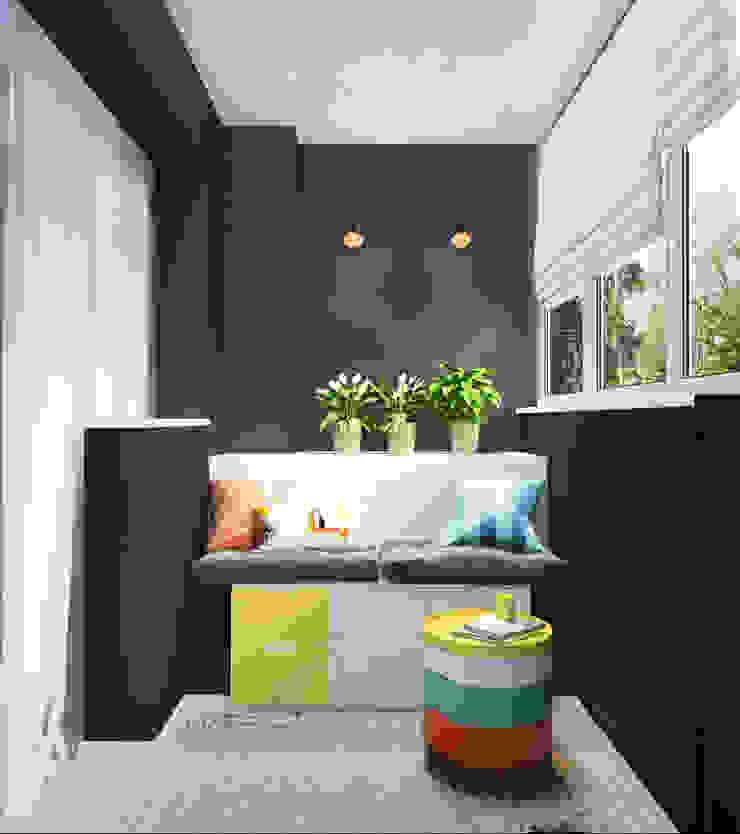 Дизайн-проект квартиры для молодой пары. Балконы и веранды в эклектичном стиле от Катя Волкова Эклектичный