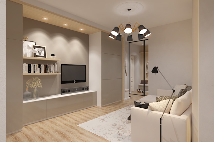 Дизайн-проект двухкомнатной квартры. Гостиные в эклектичном стиле от Катя Волкова Эклектичный