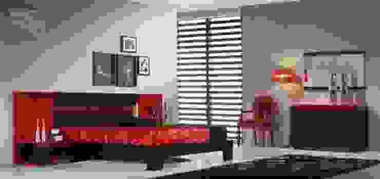 Quarto de casal em tons preto e vermelho por relax mobiliário e decoração Moderno Derivados de madeira Transparente