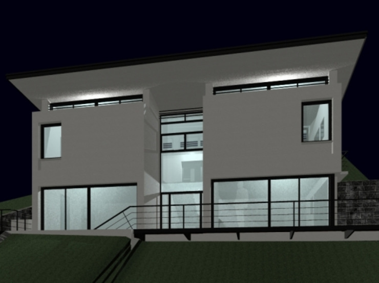 Fachada principal. Nocturno. de Oleb Arquitectura & Interiorismo Moderno