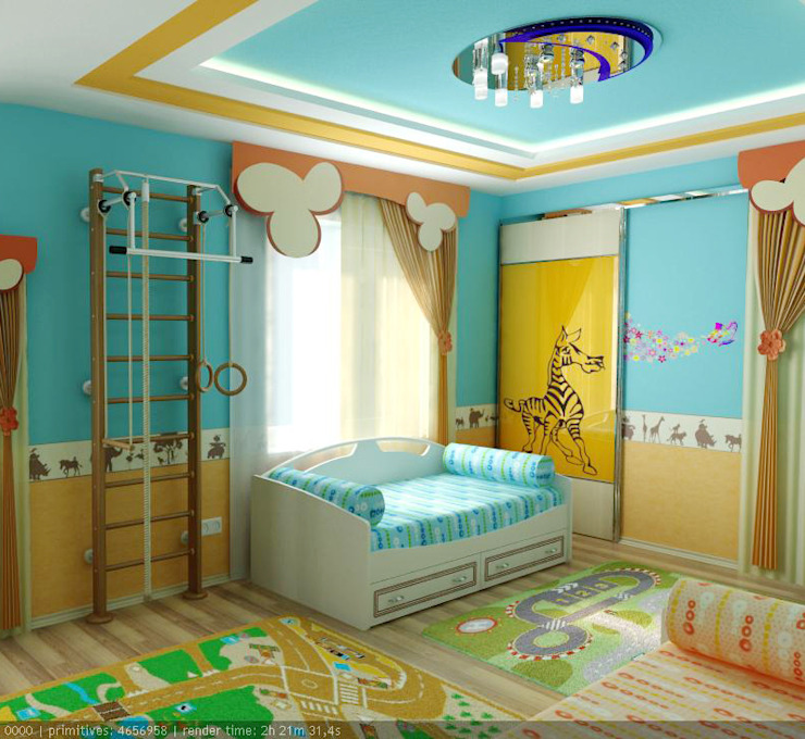 """Детская Мансардная """"Тачки"""" Детская комнатa в стиле минимализм от Цунёв_Дизайн. Студия интерьерных решений. Минимализм"""