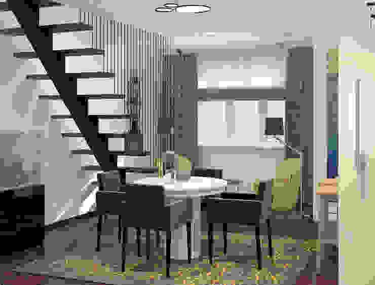 Визуализации проекта 2-х уровневой квартиры Гостиная в стиле минимализм от Alyona Musina Минимализм