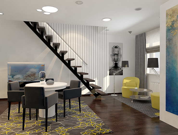 Визуализации проекта 2-х уровневой квартиры Столовая комната в стиле минимализм от Alyona Musina Минимализм