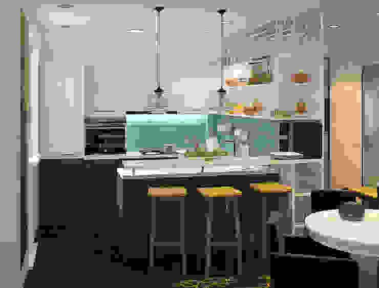 Визуализации проекта 2-х уровневой квартиры Кухня в стиле минимализм от Alyona Musina Минимализм