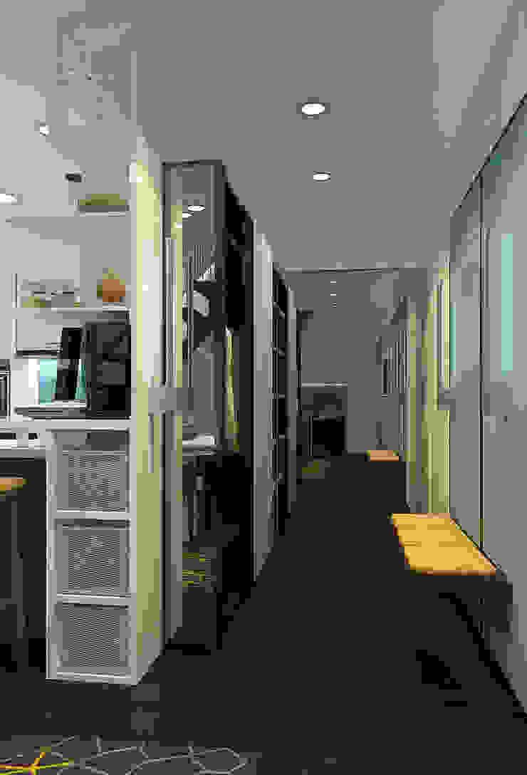 Визуализации проекта 2-х уровневой квартиры Коридор, прихожая и лестница в стиле минимализм от Alyona Musina Минимализм