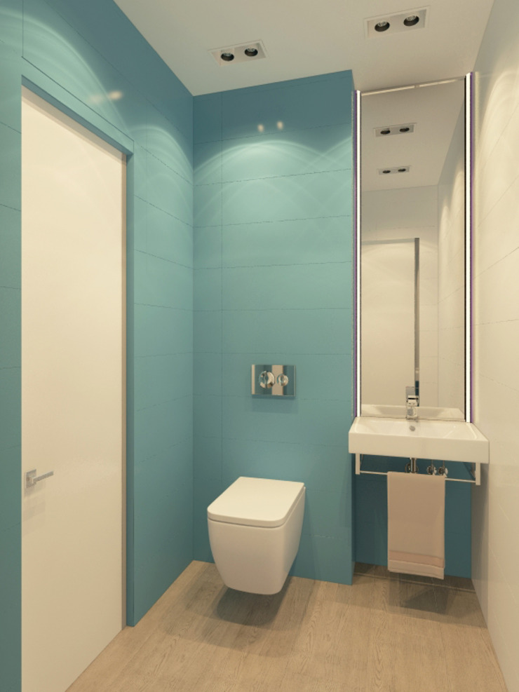 Визуализации проекта 2-х уровневой квартиры Ванная комната в стиле минимализм от Alyona Musina Минимализм