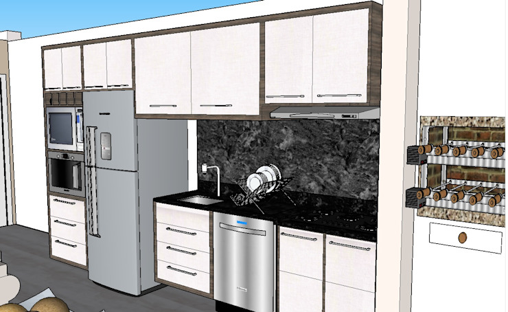 Graziela Alessio Arquitetura Kitchen units MDF White