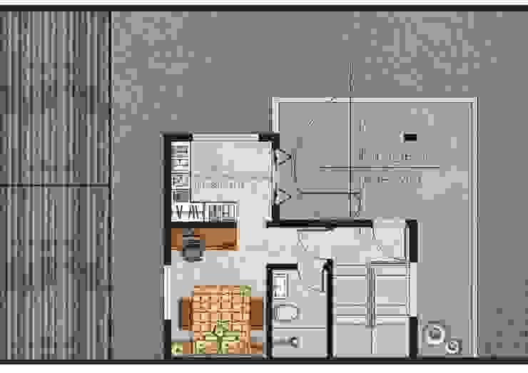 Planta baixa do pavimento superior por Graziela Alessio Arquitetura Moderno