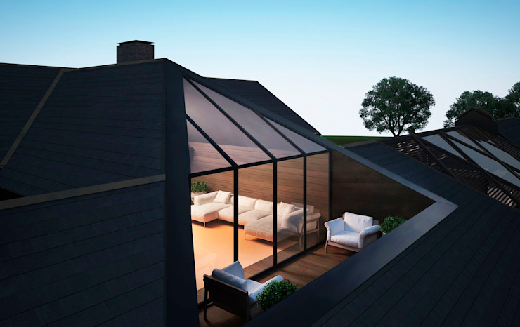 Проект дома в американском стиле: Tерраса в . Автор – Way-Project Architecture & Design,