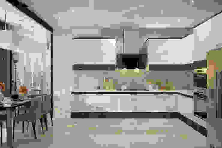 """Дизайн кухни в современном стиле в ЖК """"Солнечный"""" Кухня в стиле модерн от Студия интерьерного дизайна happy.design Модерн"""