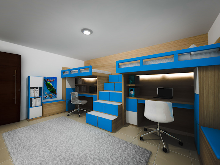 Habitación estudio niños Cuartos infantiles de estilo moderno de ID DISEÑO INDUSTRIAL DISEÑO INTERIOR Moderno