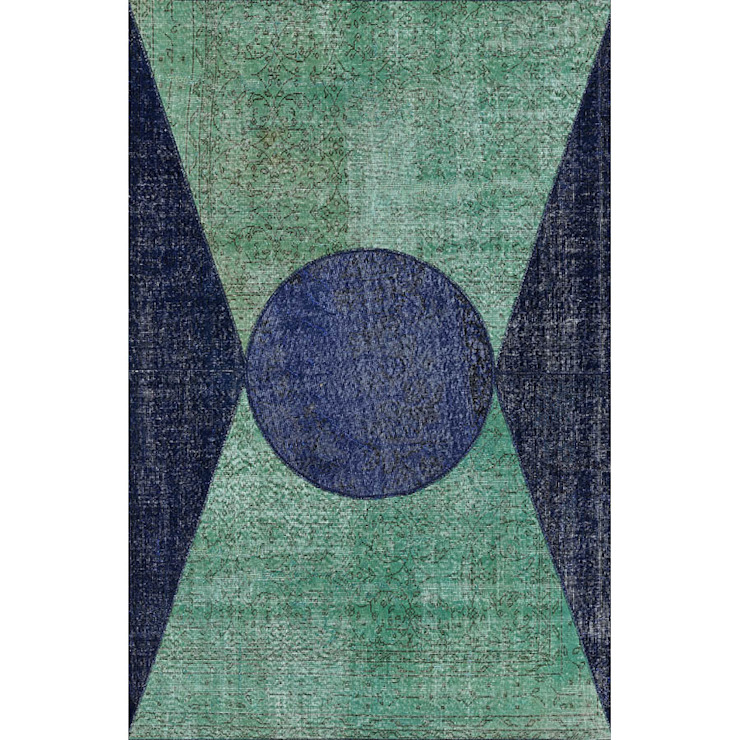 'Da Vinci' luxury emerald-blue shape rug by Sitap od My Italian Living Nowoczesny