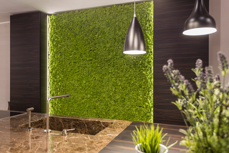 Oryginalny mech Moss Trend, Gruppo 5, Vicenza, Włochy Nowoczesna kuchnia od BandIt Design Nowoczesny Bambus Zielony