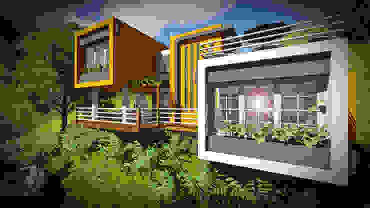 Contraste en el color... Limpieza en las formas. John J. Rivera Arquitecto Casas de estilo minimalista