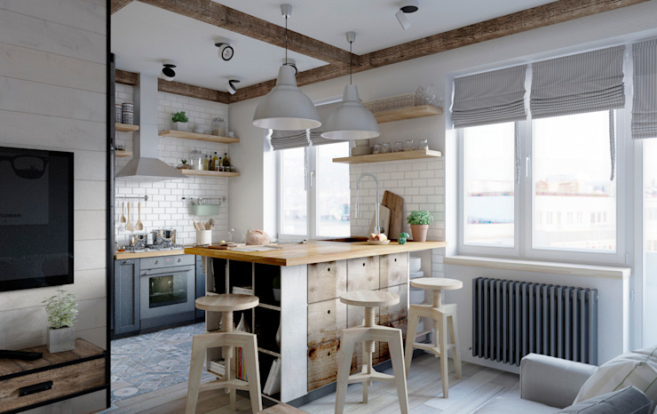 Kitchen by Elena Arsentyeva, Scandinavian Wood Wood effect