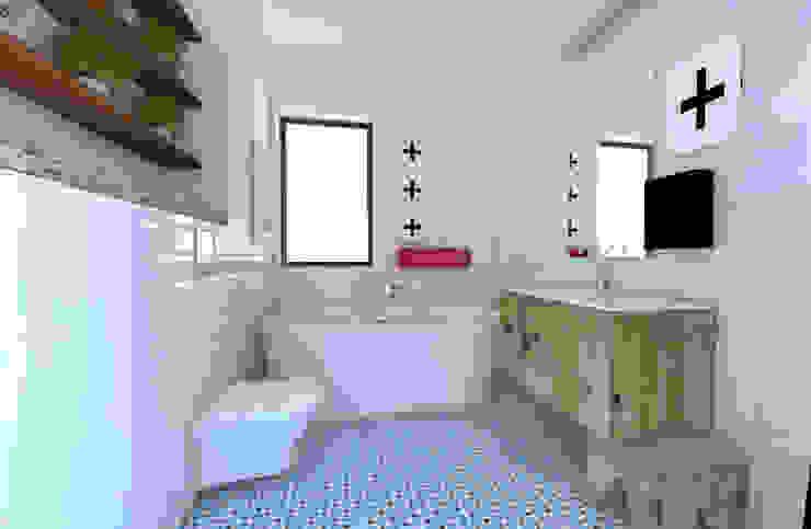 Dwie łazienki Nowoczesna łazienka od Sic! Zuzanna Dziurawiec Nowoczesny Lite drewno Wielokolorowy