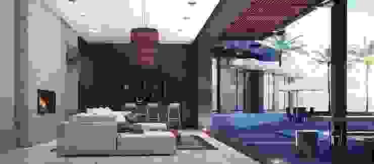 CASA PR Salones modernos de 12.20 Estudio de Arquitectura Moderno Mármol