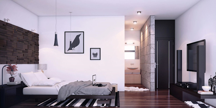 CASA PR Dormitorios modernos de 12.20 Estudio de Arquitectura Moderno Piedra