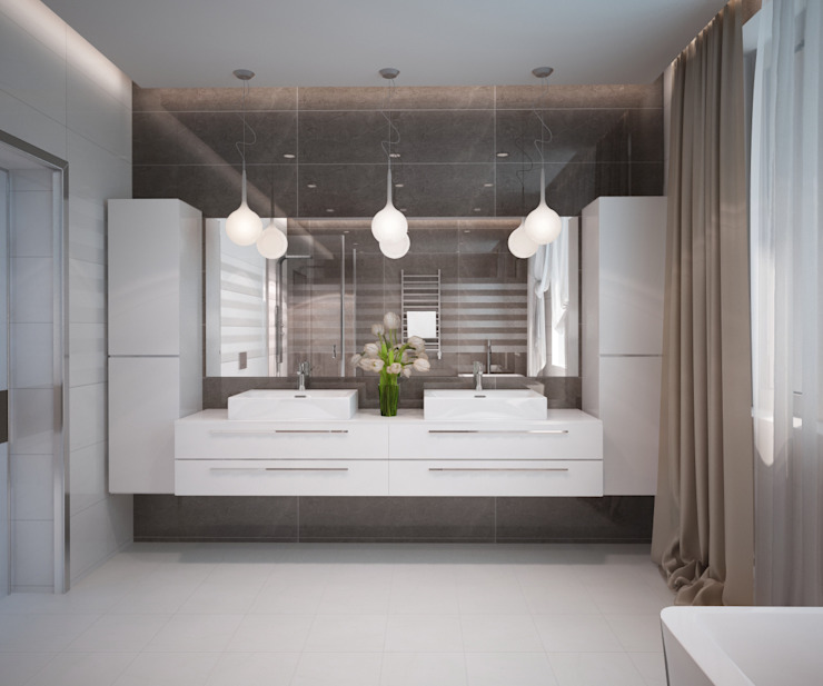 Таунхаус на берегу моря Ванная комната в стиле минимализм от 35KVADRATOV Минимализм