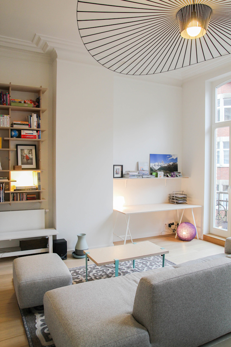 Rénovation d'un appartement bruxellois Alizée Dassonville | architecture Salon moderne