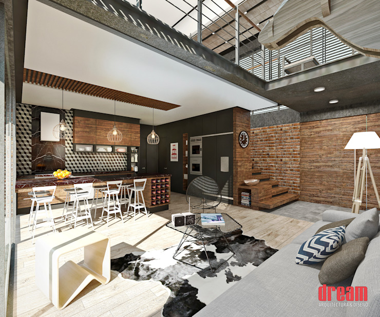Sala -Comedor -Cocina: Salas de estilo  por Estudio Meraki