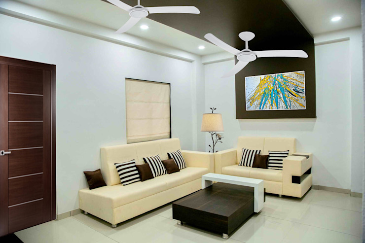 3 BHK Sample Flat Modern living room by ZEAL Arch Designs Modern