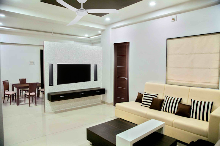 TV Panel Modern living room by ZEAL Arch Designs Modern