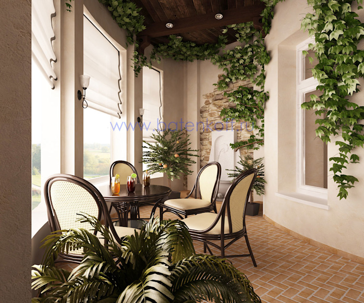 Нягань . Дизайн проект зимнего сада в коттедже от Батенькофф: Зимние сады в . Автор – Дизайн студия 'Дизайнер интерьера № 1',