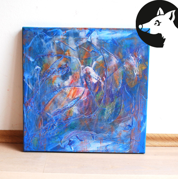 WEIßER FLAMINGO, Original, Acryl auf Leinwand: modern  von Little Walking Wolf,Modern