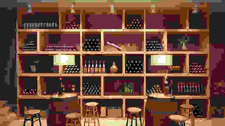 Vinoteca Bares y clubs de estilo moderno de SALA VISCOM Moderno Madera Acabado en madera