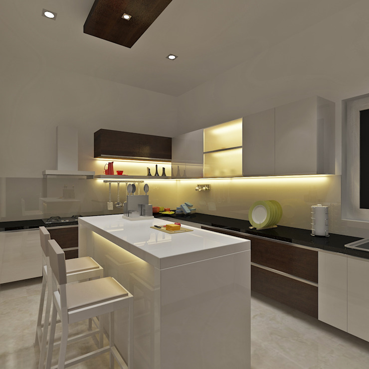 A Contemporary Open Modular Kitchen With Dining by Vasantha Architects and Interior Designers (VAID)